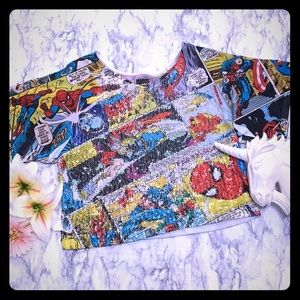 MARVEL COMIC TEE WITH SEQUINS
